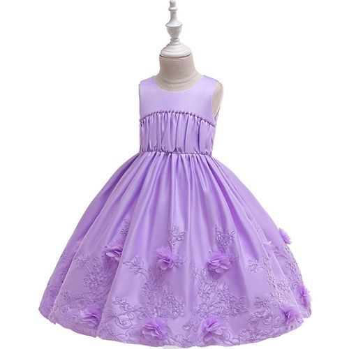 Pre Order - Awabox Sleeveless Floral Embroidered Ball Gown Flare Dress - Light Purple