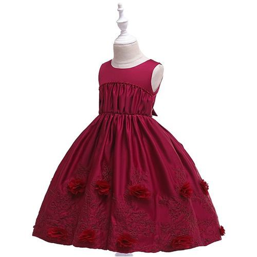 Pre Order - Awabox Sleeveless Floral Embroidered Ball Gown Flare Dress - Maroon