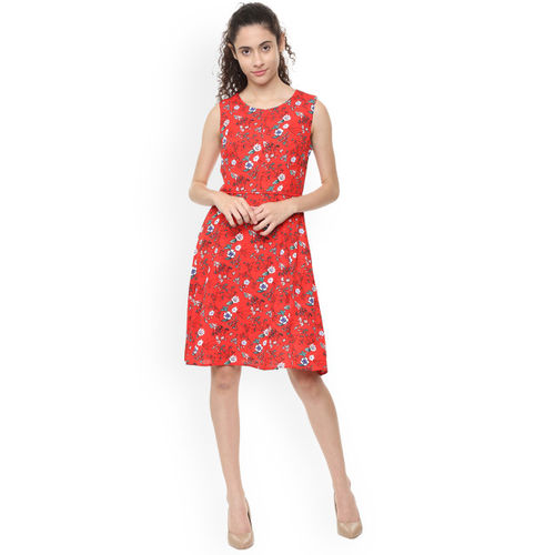 Van Heusen Woman Red Printed Fit and Flare Dress