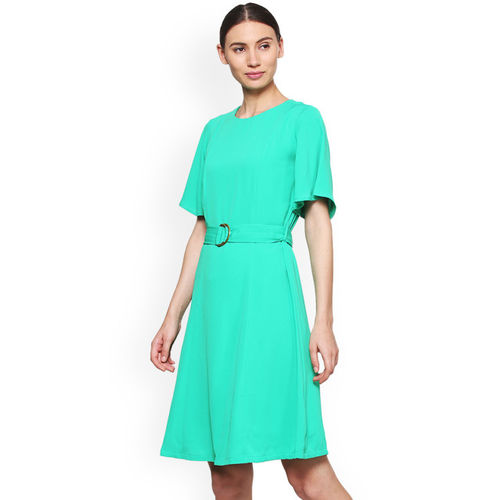 Van Heusen Woman Turquoise Blue Solid A-Line Dress