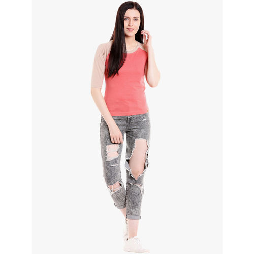 Campus Sutra Women Beige & Coral Pink Colourblocked Top