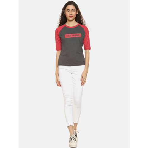 Campus Sutra Women Charcoal Colourblocked Top