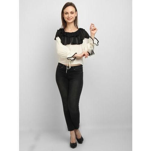 LA LOFT Women Cream-Coloured & Black Colourblocked Top