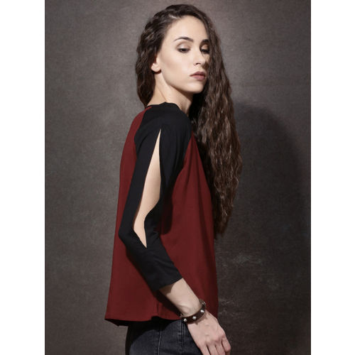 Roadster Women Red & Black Colourblocked Regular Top