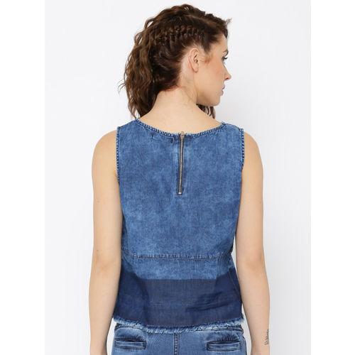 Roadster Blue Washed Denim Sleeveless Slim Fit Top