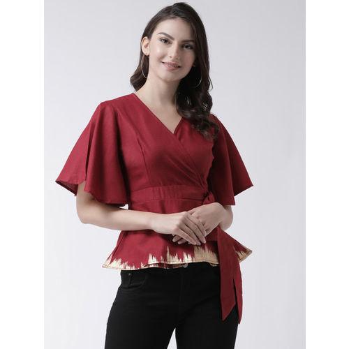 pinwheel Women Maroon Colourblocked Wrap Top