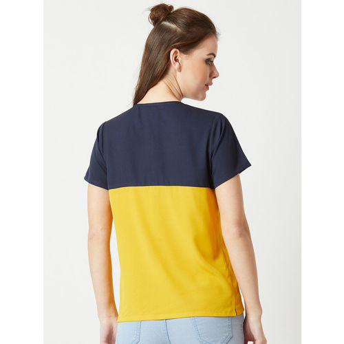 Miss Chase Women Navy Blue & Yellow Colourblocked Top