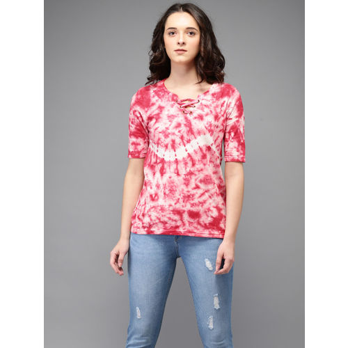 Flying Machine Women Coral Pink & White Dyed Top