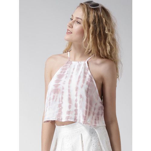 FOREVER 21 Pink Tie-Dyed Crop Top
