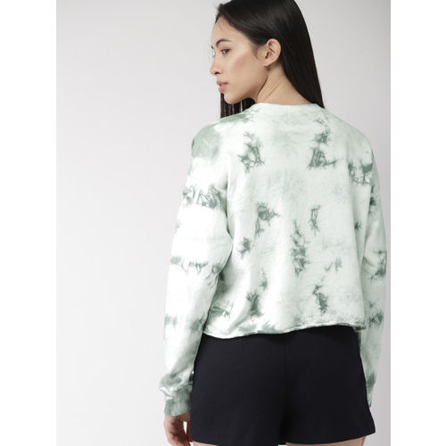 FOREVER 21 Women Off-White & Green Dyed Top