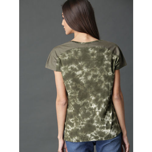 Roadster Women Olive Green Dyed Top