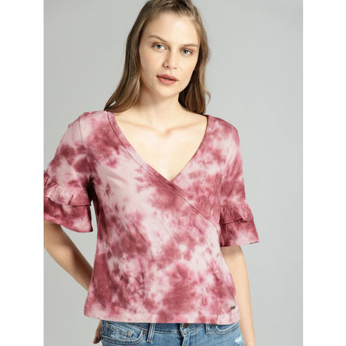 Roadster Women Burgundy Dyed Wrap Top