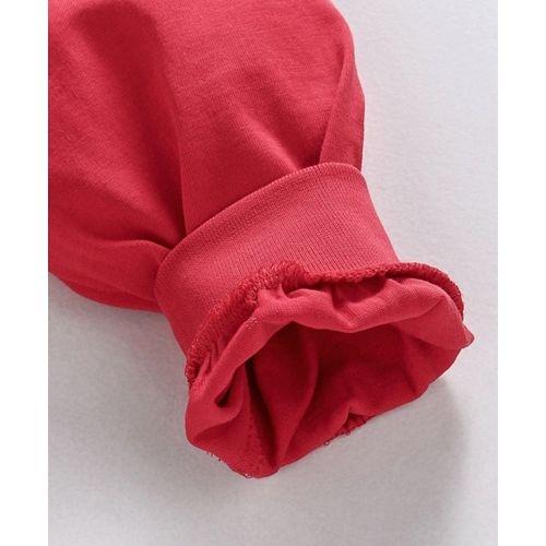 Babyhug Full Sleeves Night Suit Star Print - Red Grey