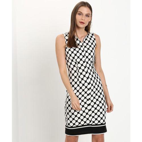 Van Heusen Women Sheath White, Black Dress