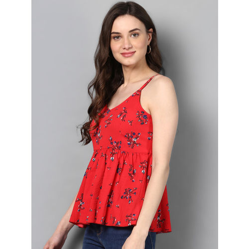STREET 9 Women Red Printed Cinched Waist Top