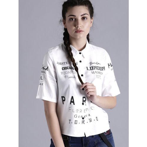 Kook N Keech Women White Printed Shirt Style Top