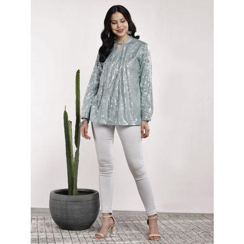 Sangria Women Grey Printed A-Line Top