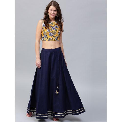 SASSAFRAS Women Yellow & Navy Silk Floral Print Crop Fitted Top