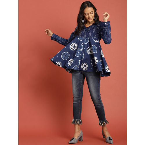 Taavi Women Blue Indigo Hand Block Print Empire Top