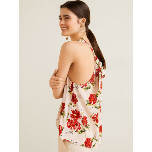 MANGO Women Beige Floral Print Styled Back Top