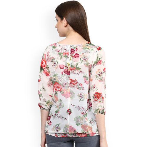 Mayra Women Off-White Printed Blouson Top