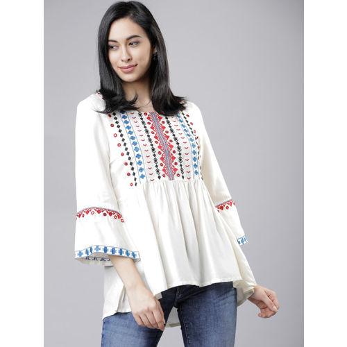 Vishudh Women Off-White Printed High-Low Top