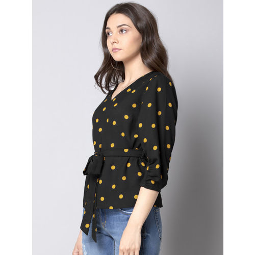 FabAlley Women Black & Yellow Printed A-Line Top