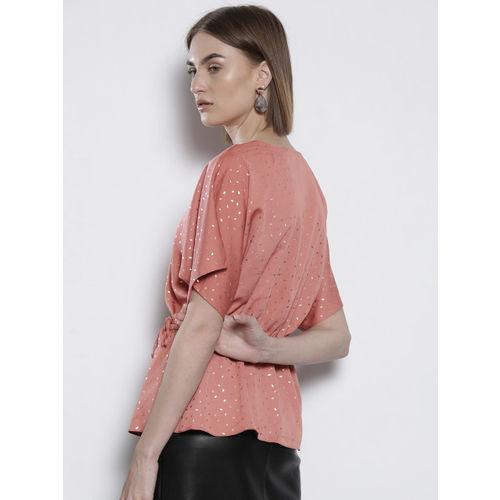 DOROTHY PERKINS Women Dusty Pink & Golden Printed Wrap Top