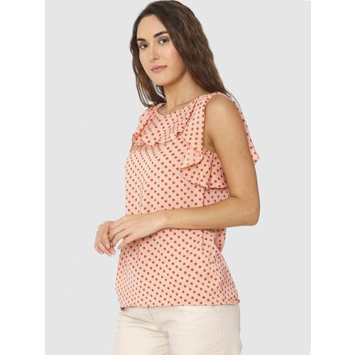 Vero Moda Women Peach-coloured Printed Top