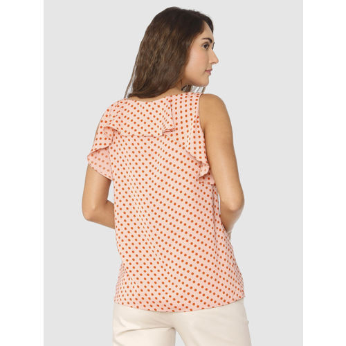 Vero Moda Women Peach-coloured Printed Top