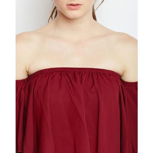 Berrylush Women Maroon Solid Bardot Top