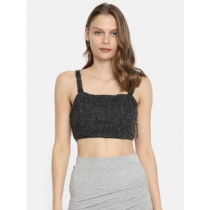Vero Moda Women Charcoal Grey Self Design Crop Top