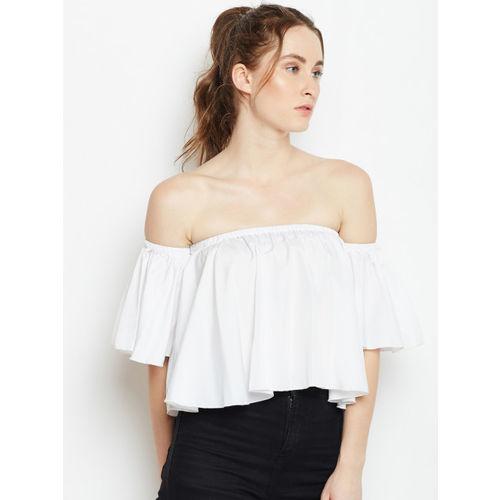 Berrylush Women White Solid Bardot Top