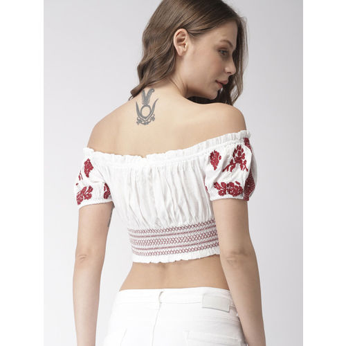 FOREVER 21 Women White & Red Embroidered Cropped Bardot Top