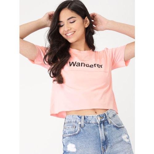 DressBerry Women Pink Printed Cold Shoulder Crop Top