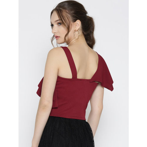 Veni Vidi Vici Women Maroon Solid One Shoulder Fitted Crop Top