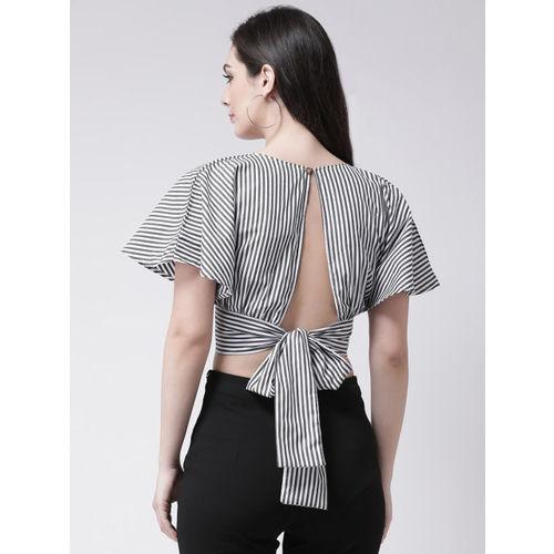 pinwheel Women White Striped Cropped Wrap Top
