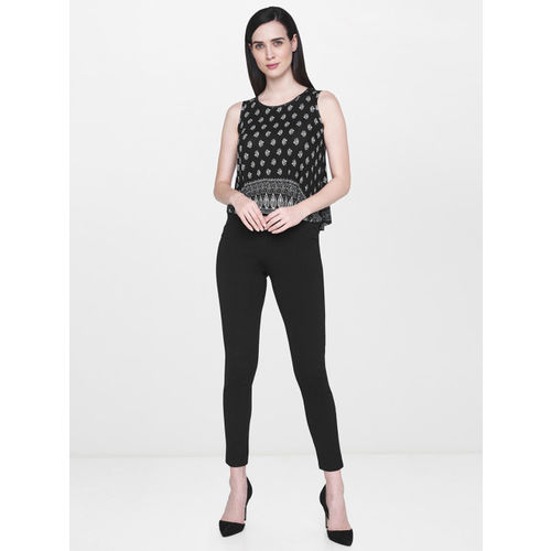 AND Women Black Printed A-Line Top
