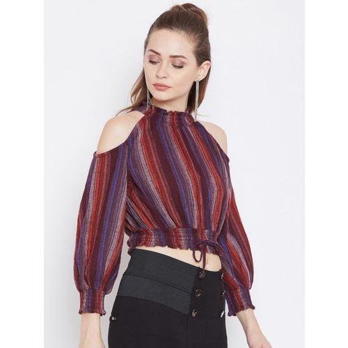 Zastraa Women Maroon Striped Blouson Crop Top
