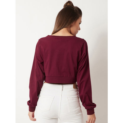Miss Chase Women Maroon Solid Crop Top