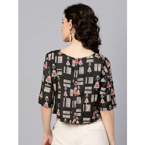 Varanga Women Black & Off-White Printed Styled Back Crop Top