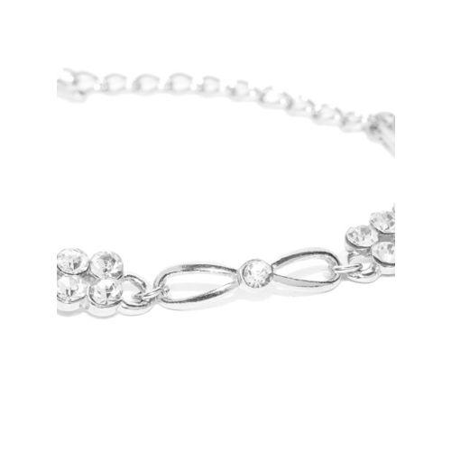 Carlton London Stone-Studded Rhodium-Plated CZ Stone-Studded Wraparound Bracelet