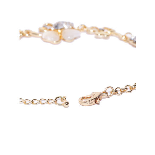 Carlton London Gold-Plated Stone-Studded Link Bracelet