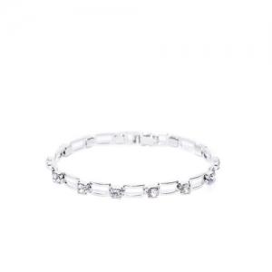Carlton London Silver-Toned Rhodium-Plated CZ Stone-Studded Link Bracelet