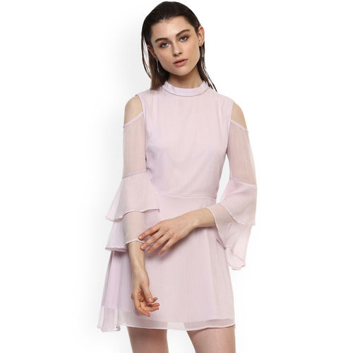Kazo Pink Solid Fit and Flare Dress