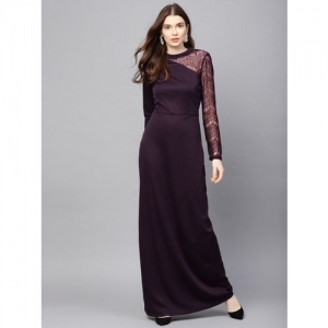 Kazo Women Aubergine Lace Detail Maxi Dress