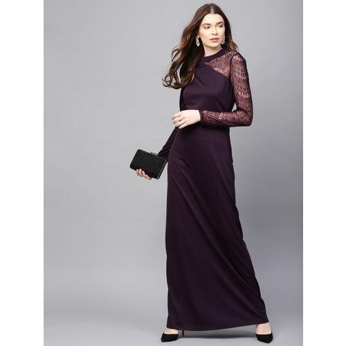Kazo Women Aubergine Lace Detail Maxi Dress