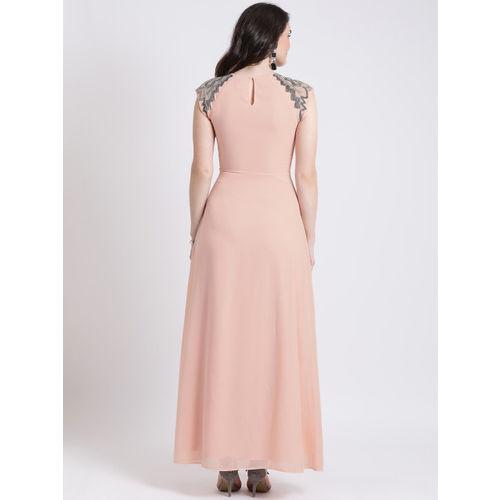 Kazo Women Pink Solid Maxi Dress