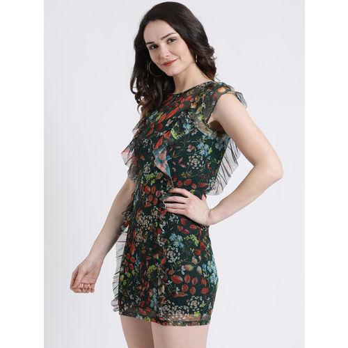 Kazo Women Green Floral Printed Sheath Dress