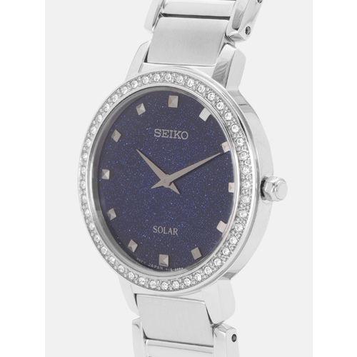 SEIKO Women Blue Embellished Analogue Watch SUP433P1